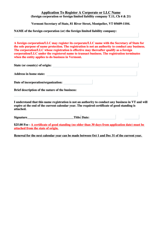Application To Register A Corporate Or Llc Name