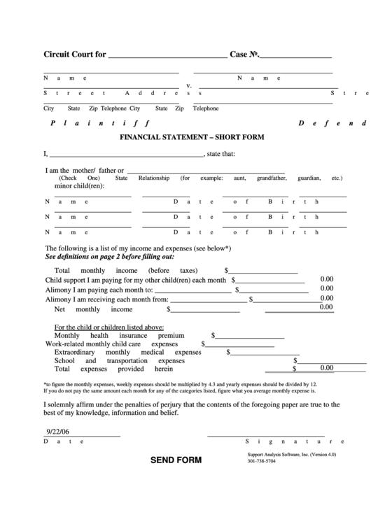 Financial Statement - Short Form