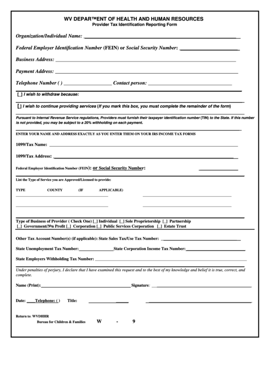 Form W-9 - Provider Tax Identification Reporting Form Printable pdf
