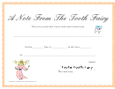 A Note From The Tooth Fairy Certificate Template