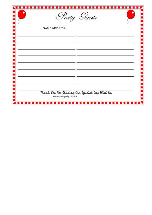 Party Guests Register Template - 2014