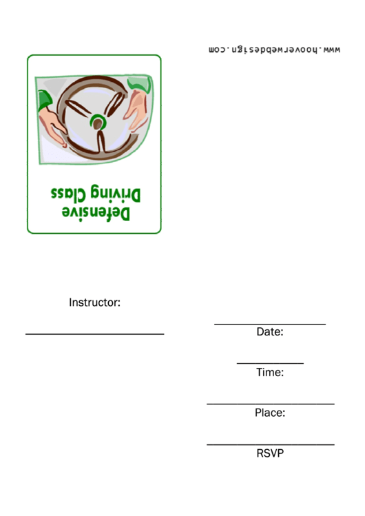 Defensive Driving Class Invitation Template Printable pdf