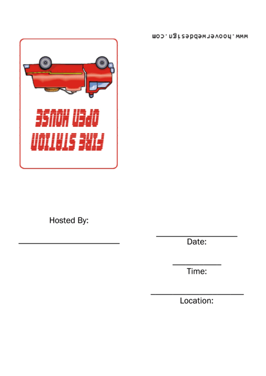 Fire Truck Rides - Fire Station Open House Invitation Template Printable pdf
