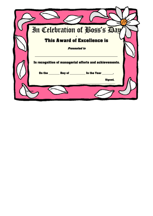 Pink Frame Bosses Day Award Certificate Template Printable pdf