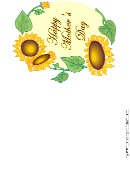 Sunflowers Happy Mother's Day Greeting Card Template