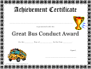 Great Bus Conduct Award - Achievement Certificate