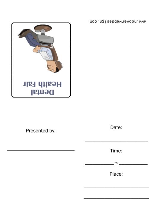 Dental Health Fair Invitation Template Printable pdf