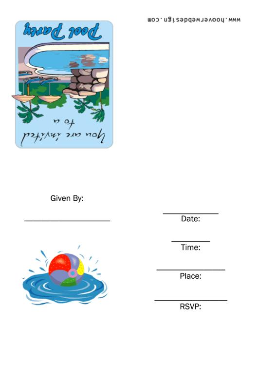 Pool Party Template Printable pdf