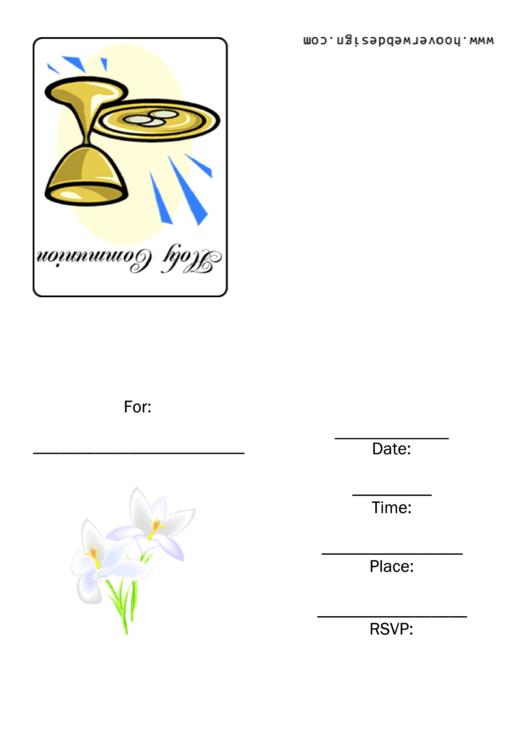 Holy Communion Invitation Template Printable pdf