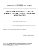 Certificate Of Cancellation Of A Foreign Llc Registration Form