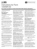 Instructions For Form 1040nr-ez - U.s. Income Tax Return For Certain Nonresident Aliens With No Dependents - 2005