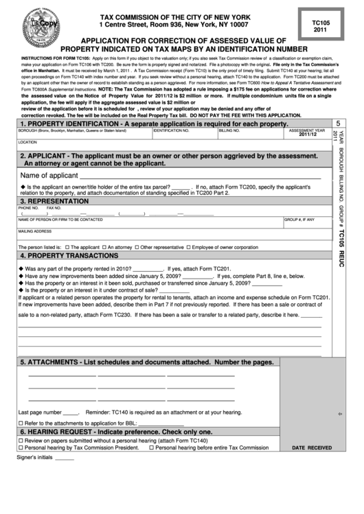 Form Tc105 - Application For Correction Of Assessed Value Of Property Indicated On Tax Maps By An Identification Number - 2011 Printable pdf