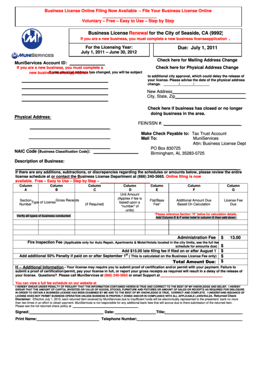 Business License Renewal Form For The City Of Seaside, Ca Printable pdf