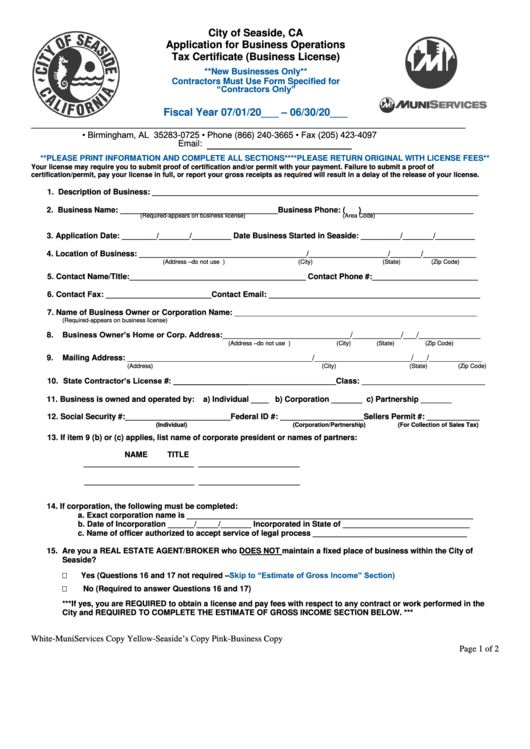 Application For Business Operations Tax Certificate (business License) Form - City Of Seaside, Ca