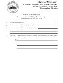 Notice Of Withdrawal For A Limited Liability Partnership Template - Secretary Of State Missouri