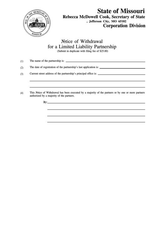 Notice Of Withdrawal For A Limited Liability Partnership Template - Secretary Of State Missouri Printable pdf