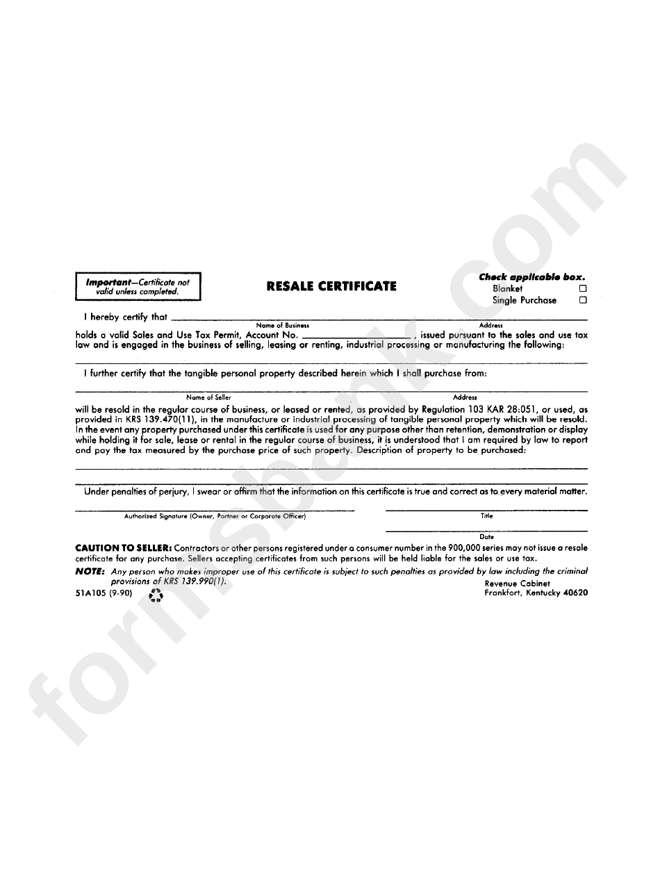 certificate resale form kentucky state pdf printable fillable advertisement