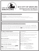 Individual Income Tax Returns Forms (resident And Nonresident) - City Of Grayling - 2012