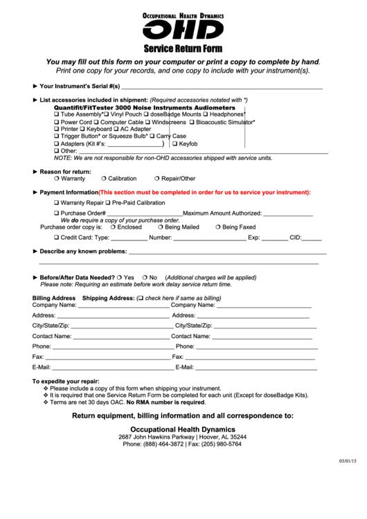 Service Return Form