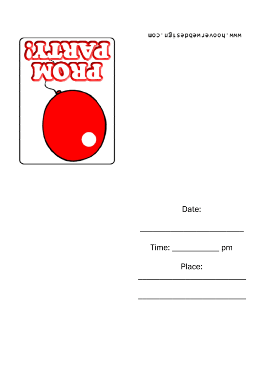 Prom Party Invitation Template