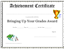 Brining Up Your Grades Awards - Achievement Certificate