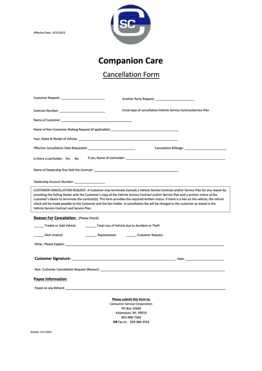 46 Cancellation Form Templates Free To In PDF