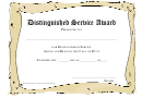 Distinguished Service Award Certificate Template