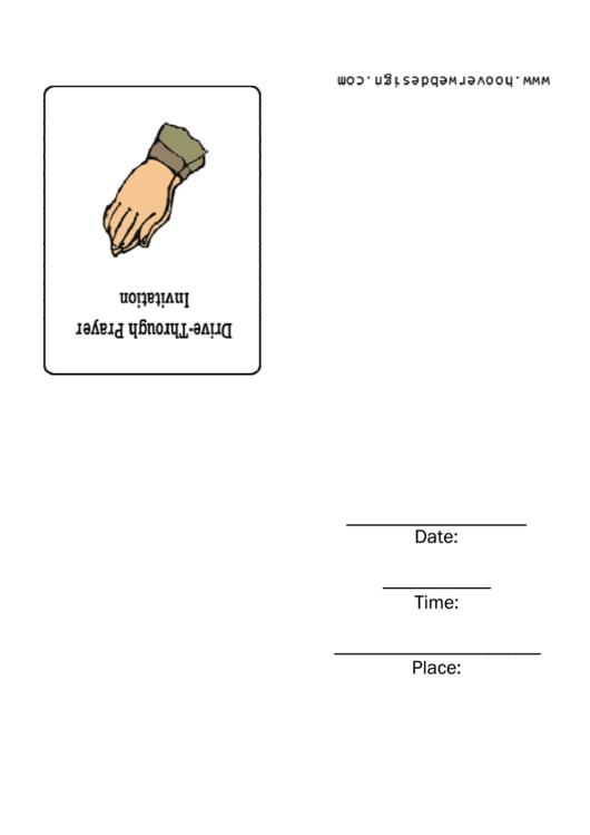 Drive-Through Prayer Invitation Template Printable pdf