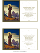 Prayer Of Saint Francis Funeral Card Template