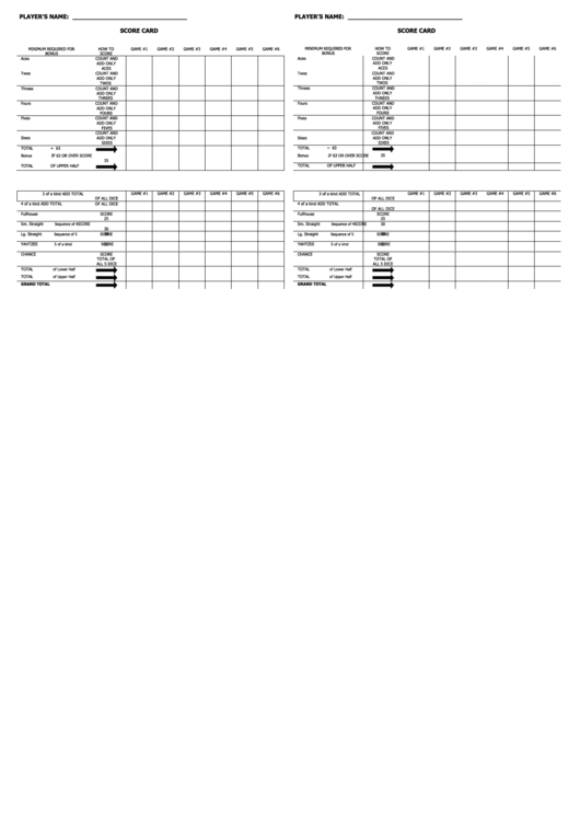 Score Card Template Printable pdf
