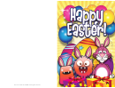 Bunnies, Monsters And Presents Easter Card Template