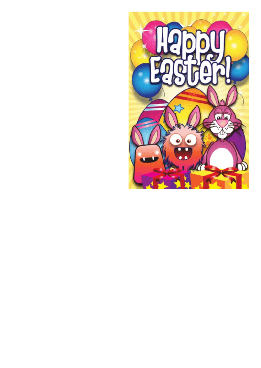 Bunnies, Monsters And Presents Easter Card Template Printable pdf