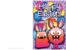 Colorful Monsters Easter Card Template