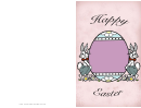 Bunnies Presenting An Egg Easter Card Template