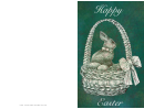 Bunny In A Basket Easter Card Template