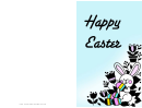 Bunny With Eggs Easter Card Template