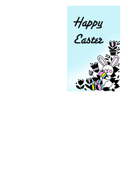 Bunny With Eggs Easter Card Template Printable pdf