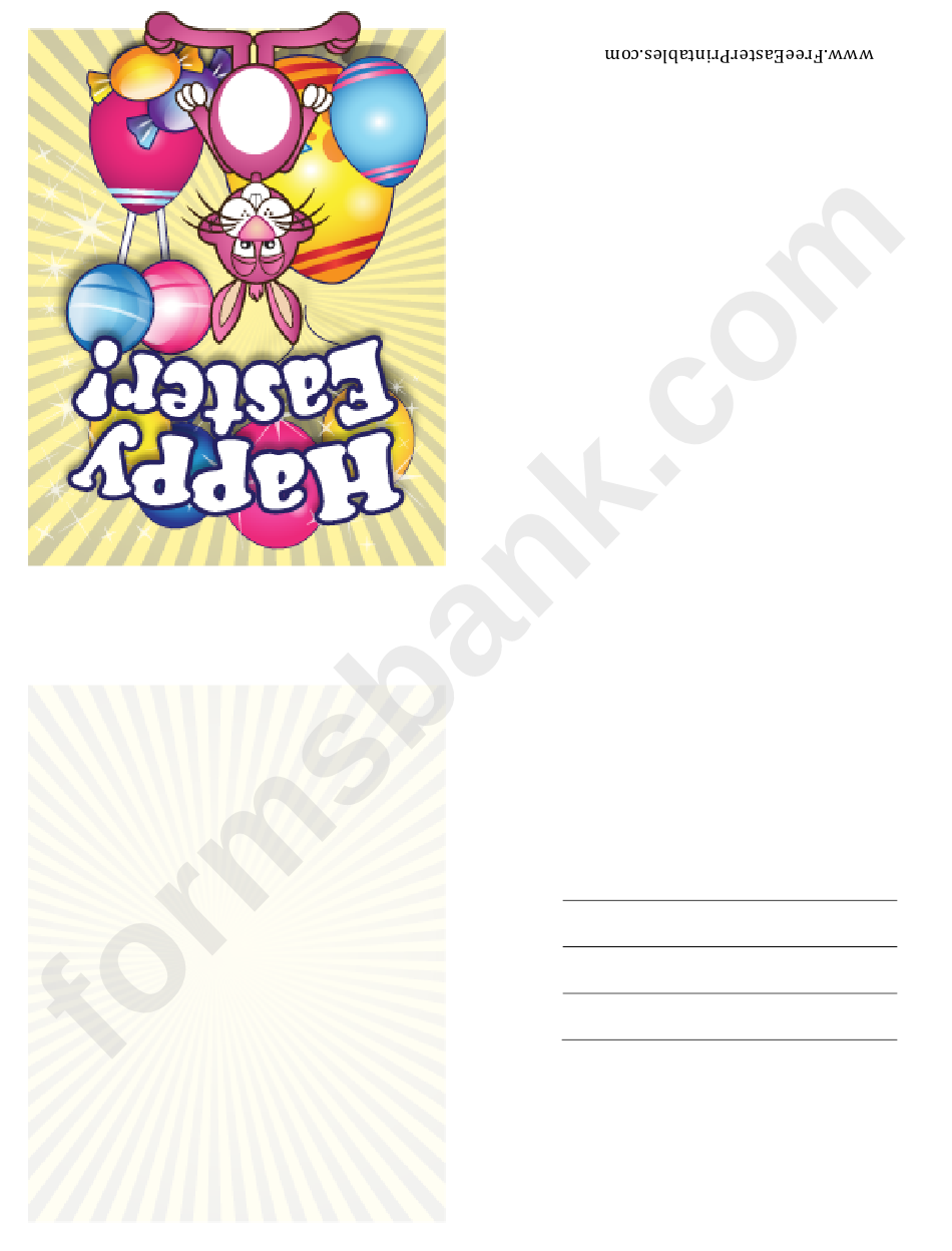 Bunny With Candy Small Easter Card Template