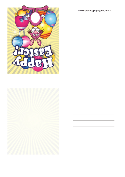 Bunny With Candy Small Easter Card Template Printable pdf