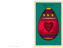 Egg With Hearts Easter Card Template