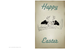 Bunnies With A Basket Easter Card Template
