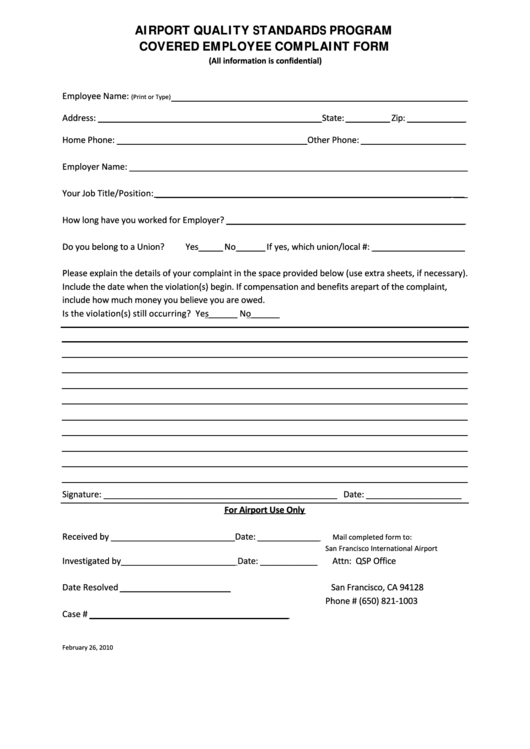 Airport Quality Standards Program Covered Employee Complaint Form