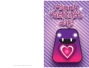 Purple Monster Valentines Card Template