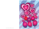 Hearts And Balloons Valentines Card Template