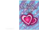 Two Red Hearts Valentines Card Template