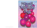 Purple Balloons Valentines Card Template