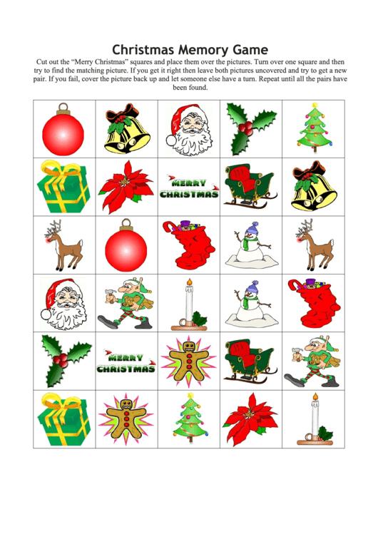 Christmas Memory Game Template