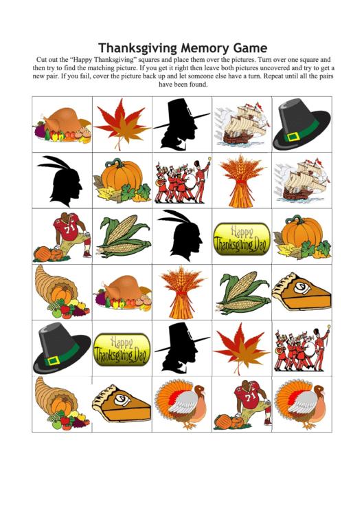 Thanksgiving Memory Game Template Printable pdf