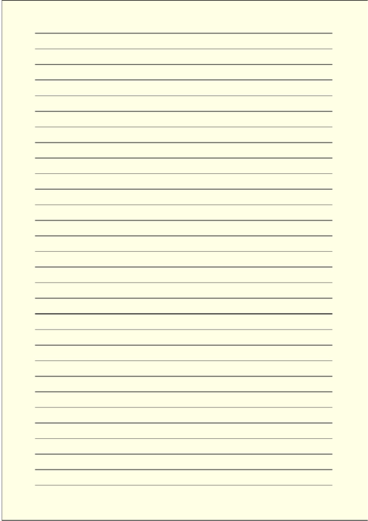 Colored Light-yellow Lined Paper With Wide Black Lines