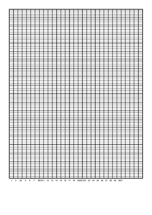 Calendar Graph Paper Template - 1 Month By Days Printable pdf